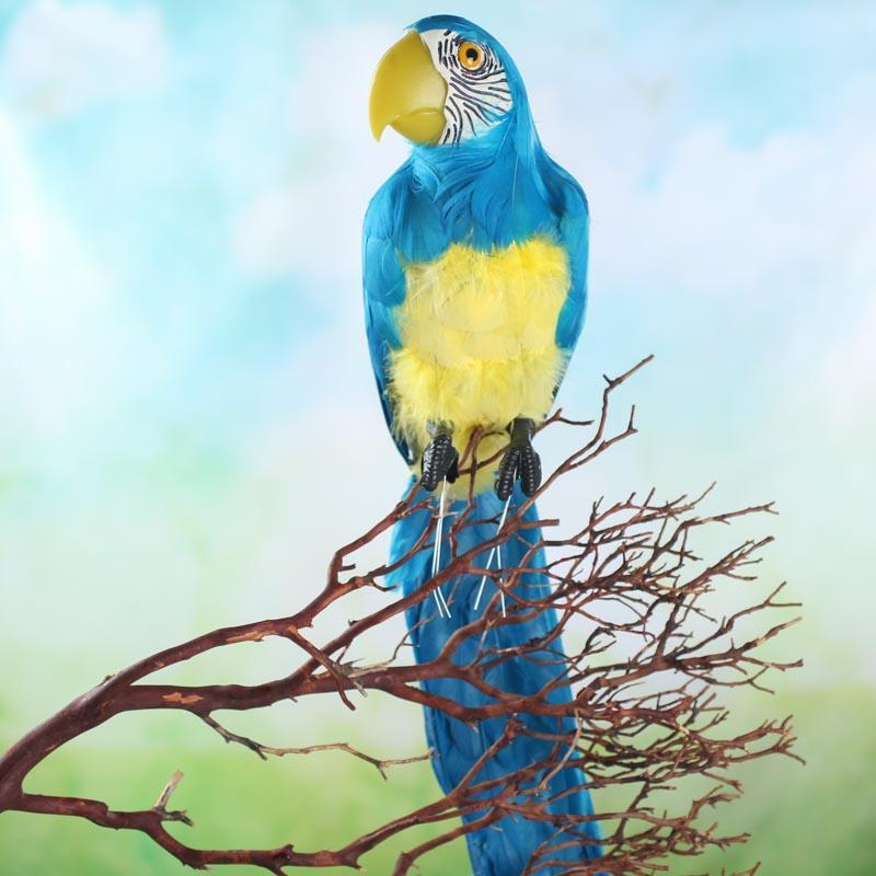 tropical blue artificial macaw parrot birds butterflies basic