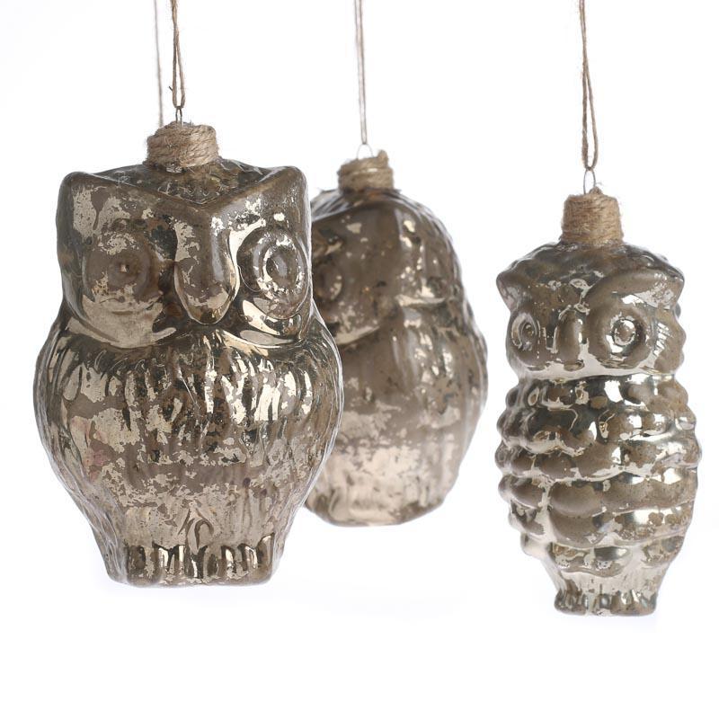 Mercury glass owl ornaments christmas