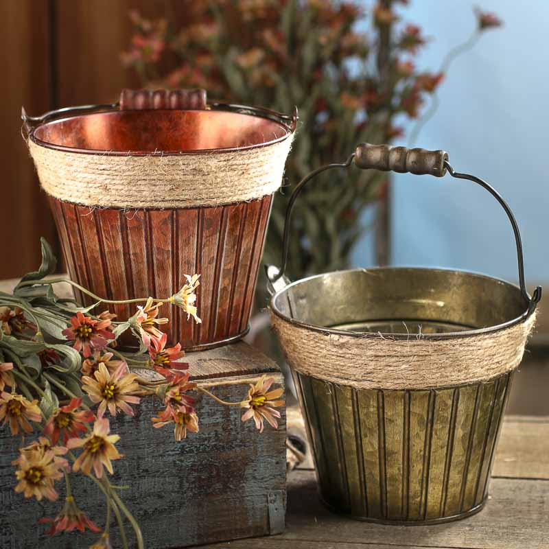 rustic verde green patina tin bucket baskets buckets