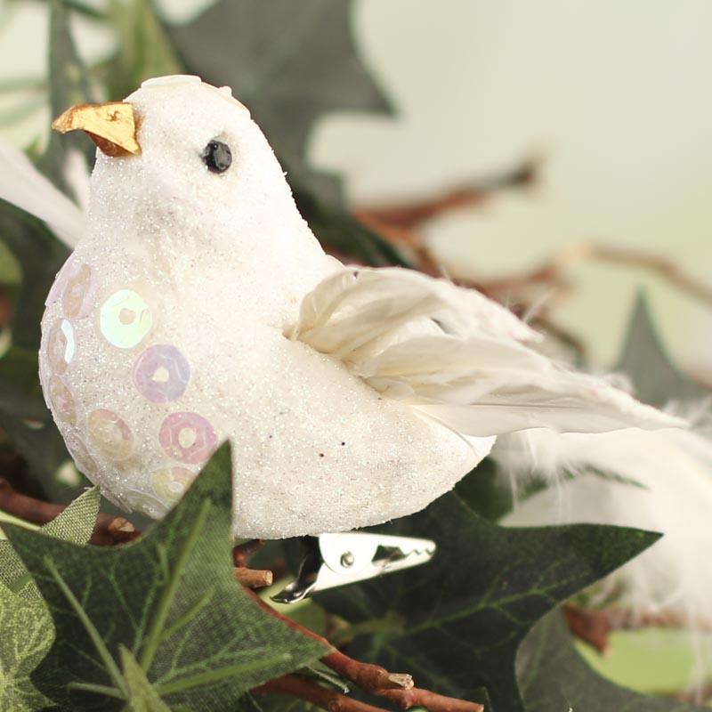 Sparkling white iridescent artificial bird artificial for Fake birds for crafts