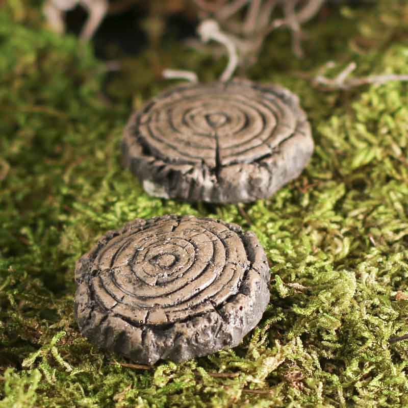 miniature tree slice stepping stones fairy garden