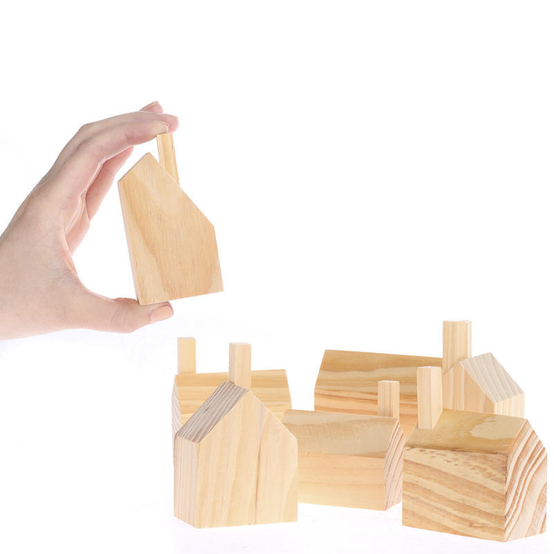 Unfinished wood houses set wood miniatures unfinished for Wood craft supply stores