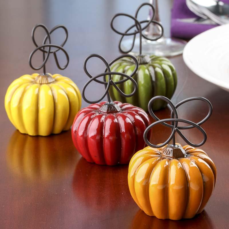 Fall Wedding Card Holder Ideas: Pumpkin Place Card Holders Set
