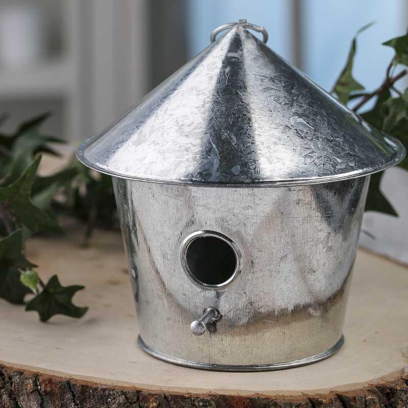 Galvanized Metal Birdhouse Ornament Table And Shelf