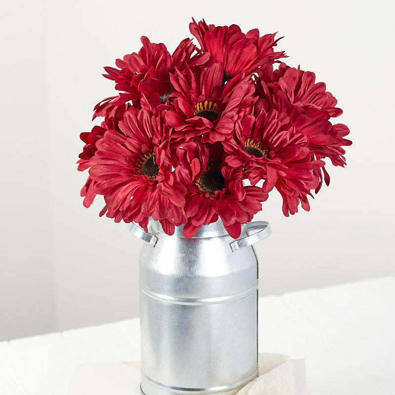 Burgundy Artificial Gerbera Daisy Stems Bushes And