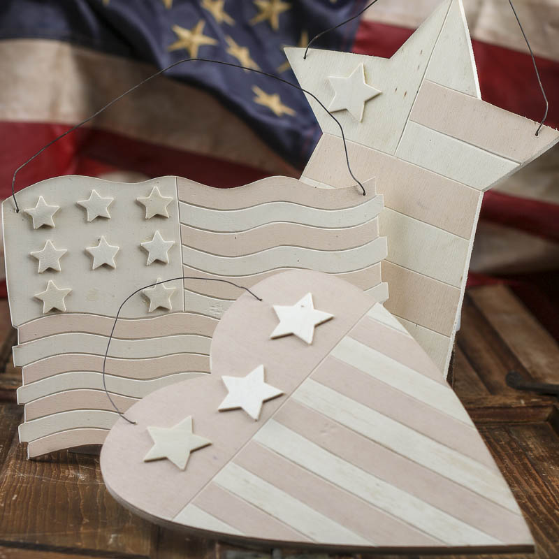 Unfinished wood stars and stripes hanger americana decor Stars and stripes home decor