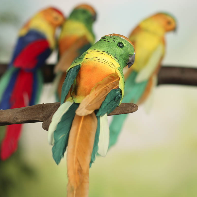 Colorful artificial parrots birds butterflies basic for Fake birds for crafts