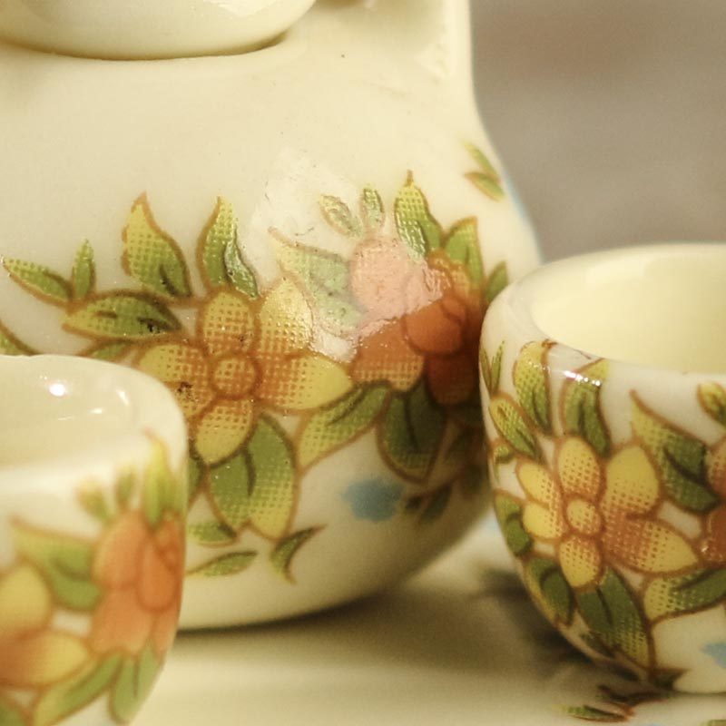 Miniature Antiquated Floral Ceramic Tea Set Dining Room