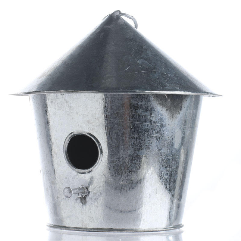 Galvanized metal birdhouse ornament table decor home for Metal art craft supplies