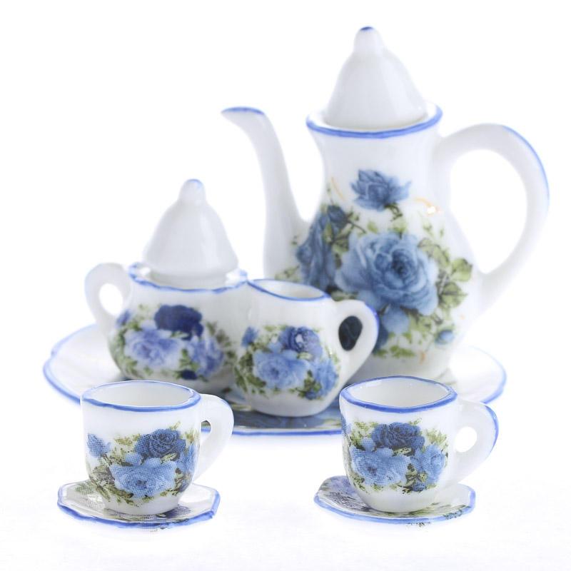 miniature blue rose ceramic tea set. Black Bedroom Furniture Sets. Home Design Ideas