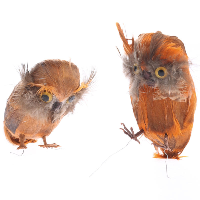 Small fall feathered artificial owl birds butterflies for Feathered birds for crafts
