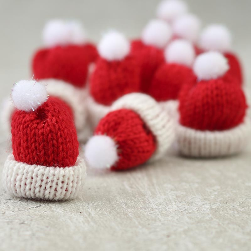 Tiny red knitted hats doll accessories doll making for Tiny top hats for crafts