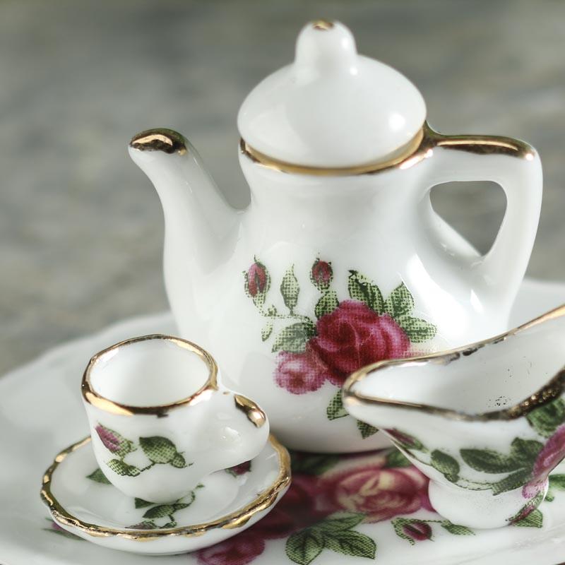 Miniature Pink Rose Ceramic Tea Set Dining Room