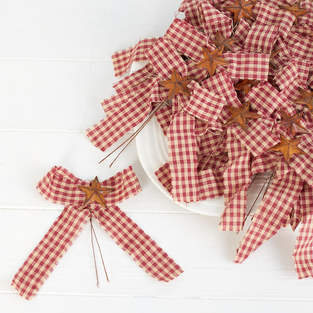 Pretied Homespun Gingham and Rusty Star Bows - Christmas ...