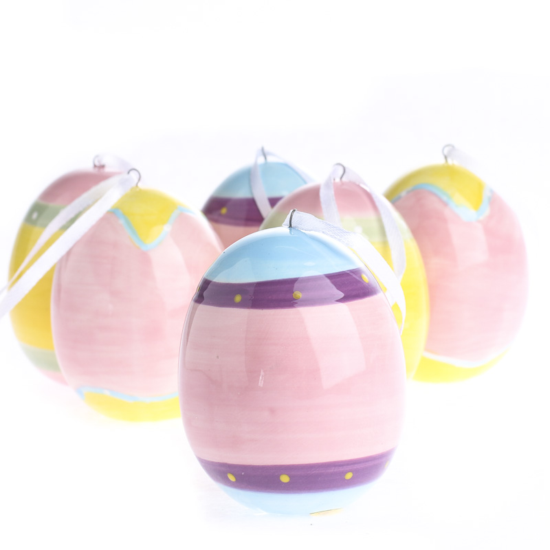 assorted ceramic easter egg ornaments and easter crafts