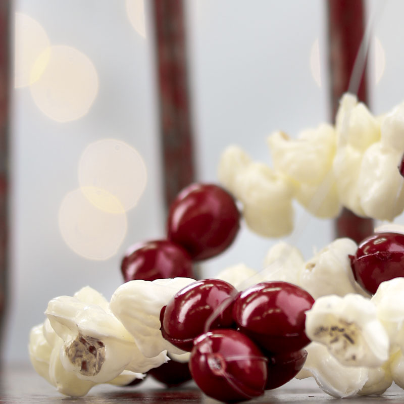 Artificial Popcorn and Cranberry Garland