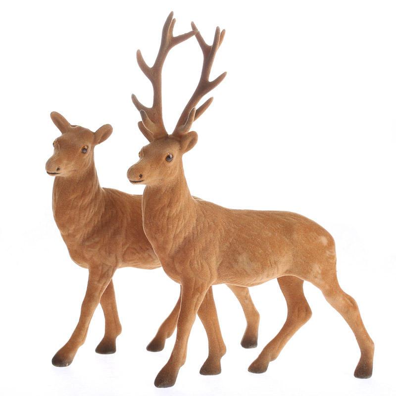 Flocked Buck And Doe Deer Table Decor Home Decor