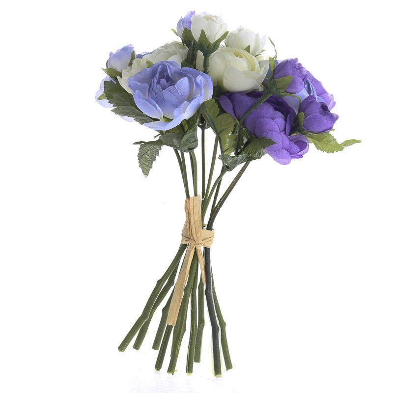 Purple and cream artificial ranunculus bouquet bushes