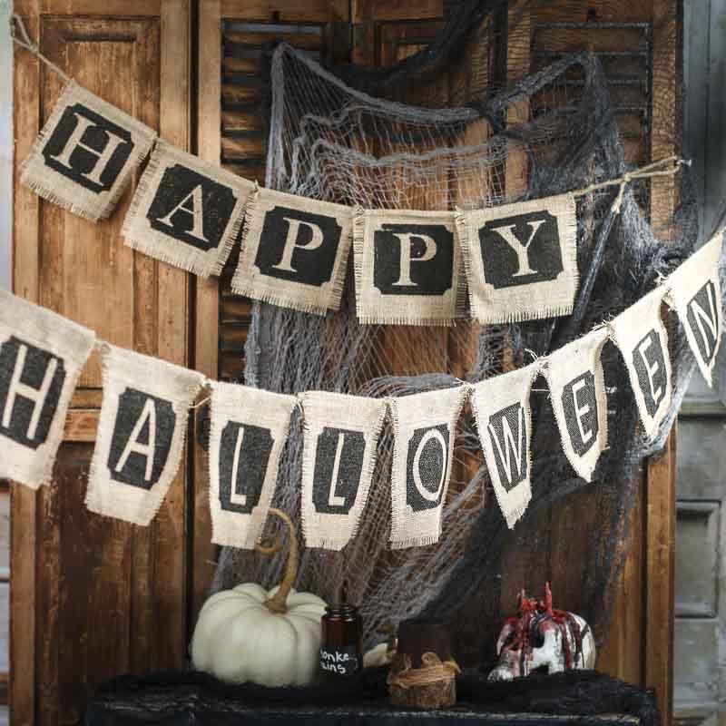 "Natural Halloween Decorations: Natural Burlap ""Happy Halloween"" Banner Set"