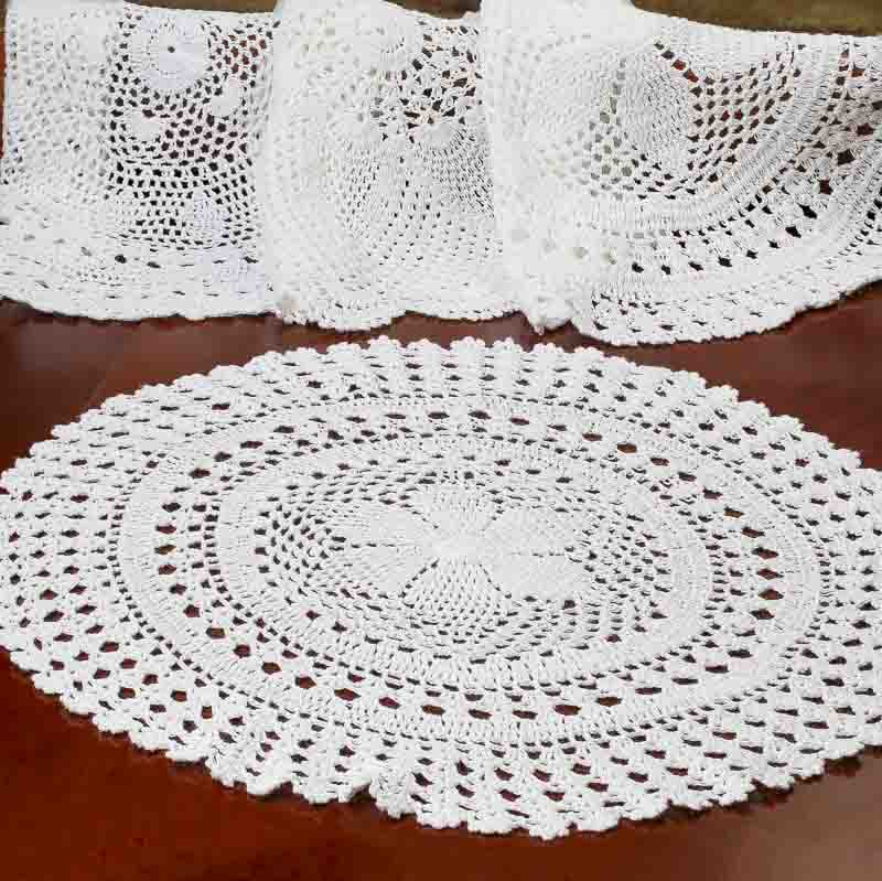 White Round Crocheted Doily - Crochet and Lace Doilies - Home Decor