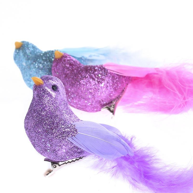 Glittered artificial bird birds butterflies basic for Fake birds for crafts