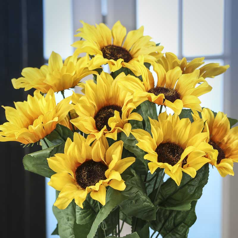 Artificial Sunflower Bush Bushes Bouquets Floral