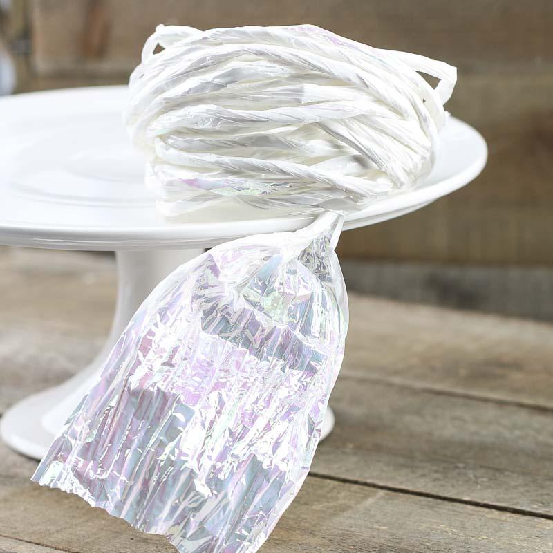 White Iridescent Metallic Twist Paper Twist Basic Craft Supplies