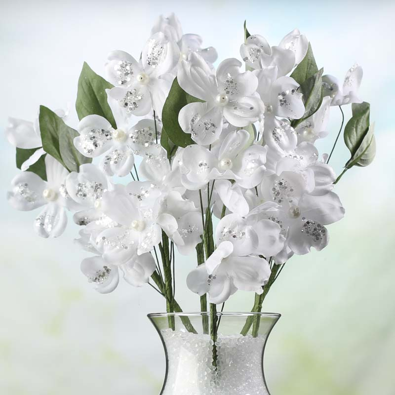 Sparkling Pearl Artificial Dogwood Picks - Bushes and Bouquets ...