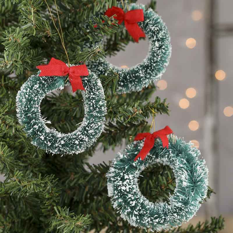 Small Christmas Wreaths.Small Frosted Sisal Christmas Wreaths