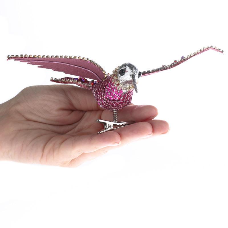 Dazzling Sequin And Rhinestone Artificial Hummingbird