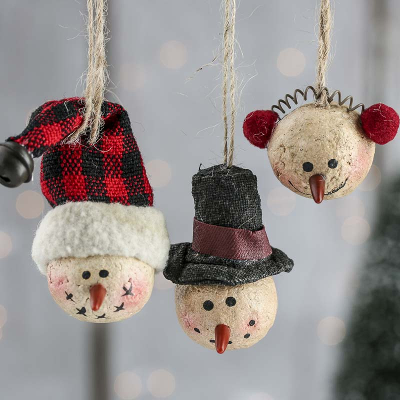 Primitive Paper Clay Snowman Ornaments - Christmas ...