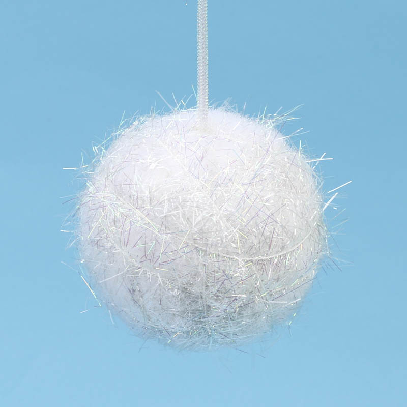 fuzzy iridescent snowball ornament
