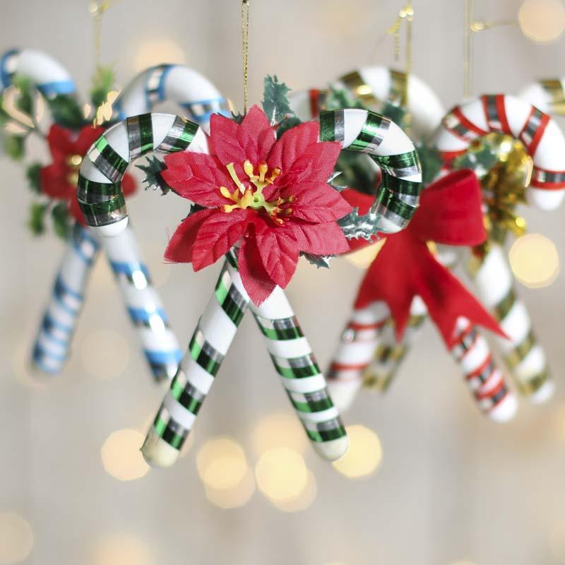 Metallic Stripe Candy Cane Ornament - Christmas Ornaments ...