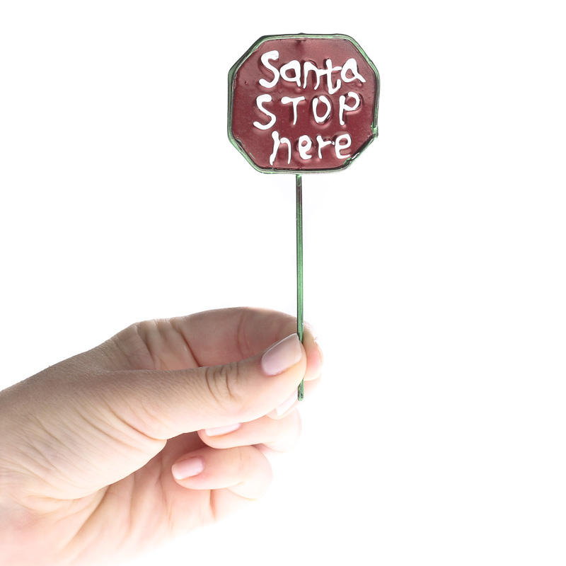 Miniature Quot Santa Stop Here Quot Sign Christmas Miniatures