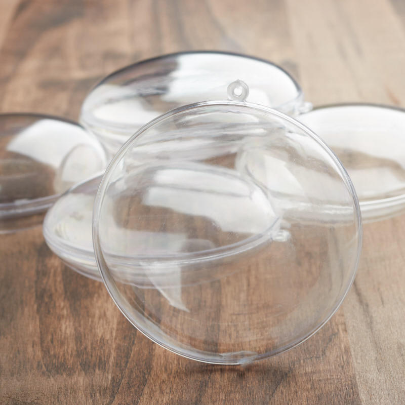 70mm clear acrylic fillable round disc ornaments acrylic for Clear plastic balls for crafts