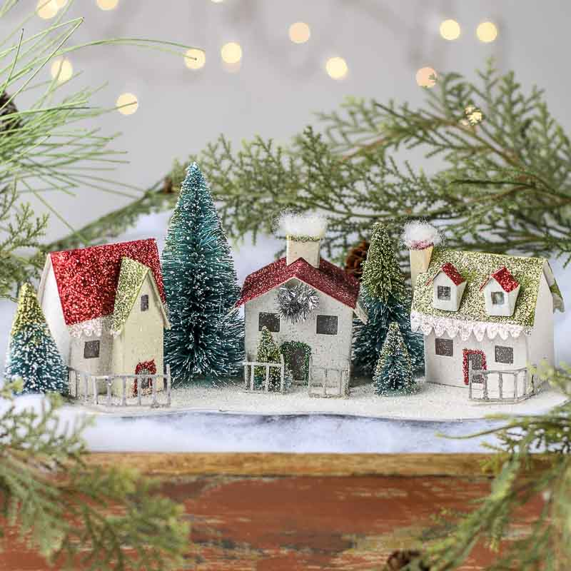 Glittered miniature christmas village table decor christmas and winter holiday crafts - Decor village noel miniature ...