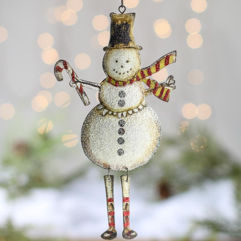 Rustic dangly snowman ornament christmas and holiday for Rustic snowman decor
