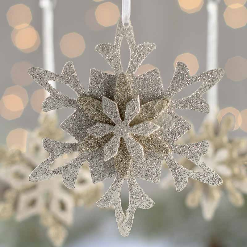 silver and gold glittered snowflake ornament set christmas ornaments christmas and winter. Black Bedroom Furniture Sets. Home Design Ideas