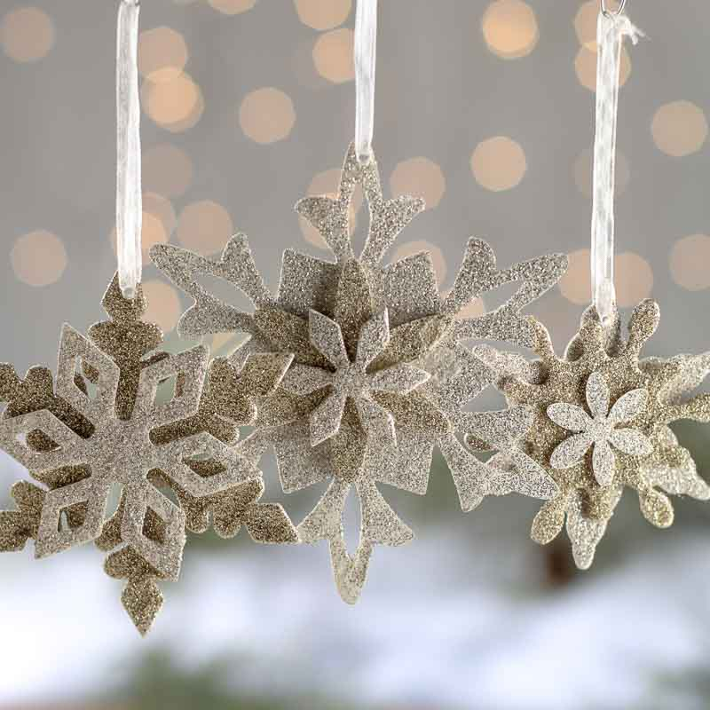 White Silver Ornament Silvers: Silver And Gold Glittered Snowflake Ornament Set