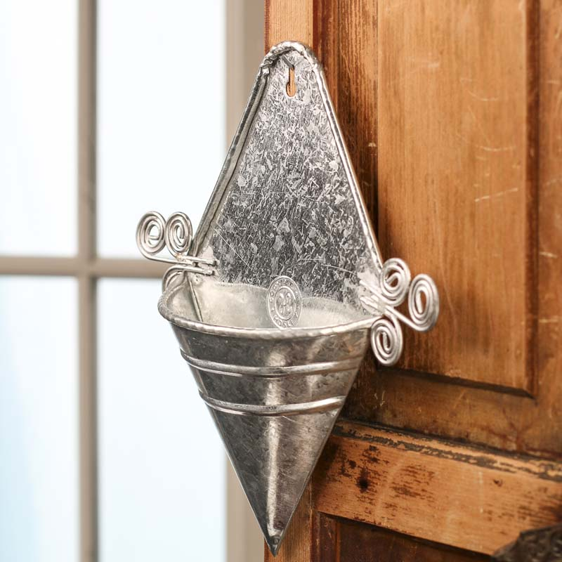 Galvanized Metal Cone Wall Pocket Wall Decor Home Decor Craft Supplies Holiday Crafts