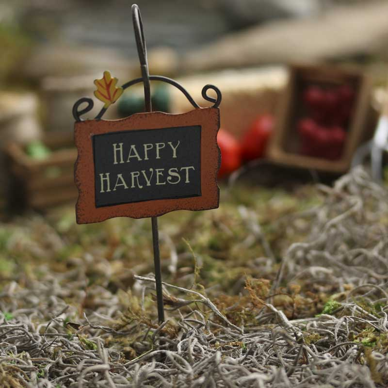 Miniature Quot Happy Harvest Quot Sign And Holder Fairy Garden
