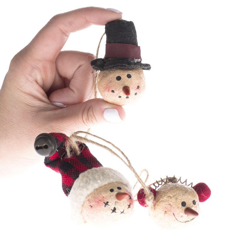 Primitive Paper Clay Snowman Ornaments - Christmas ...