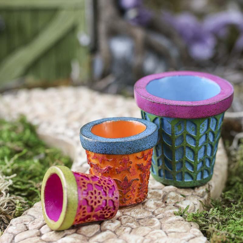Miniature Colorful Flower Pots - Fairy Garden Miniatures
