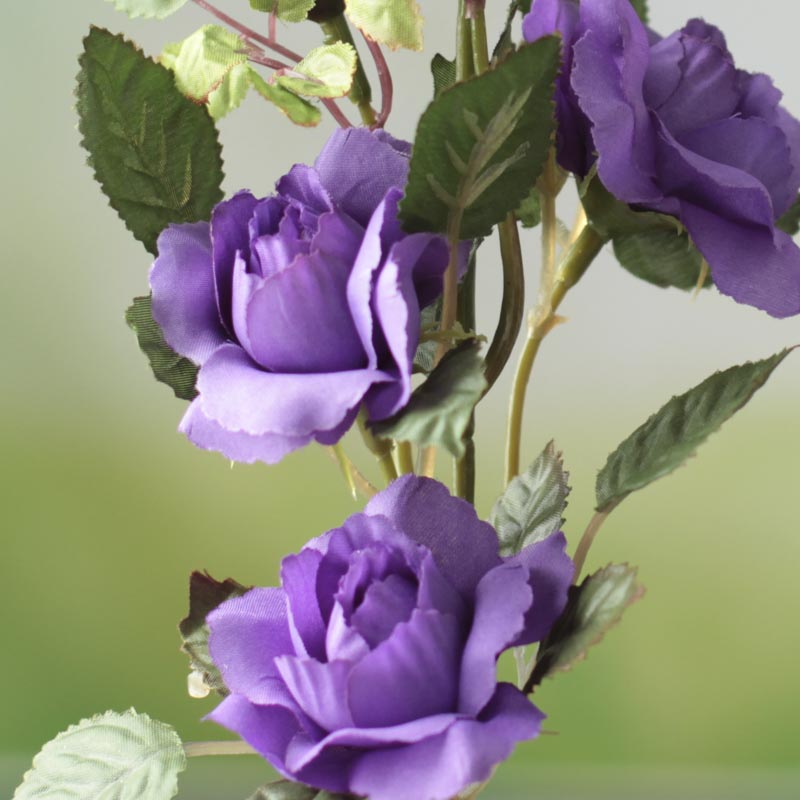Lavender Artificial Rose Stem Silk Poly Ribbon Roses Floral Supplies Craft Supplies