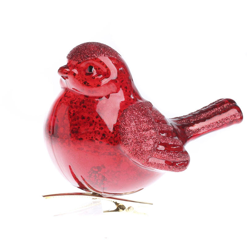 red mercury glass cardinal ornament