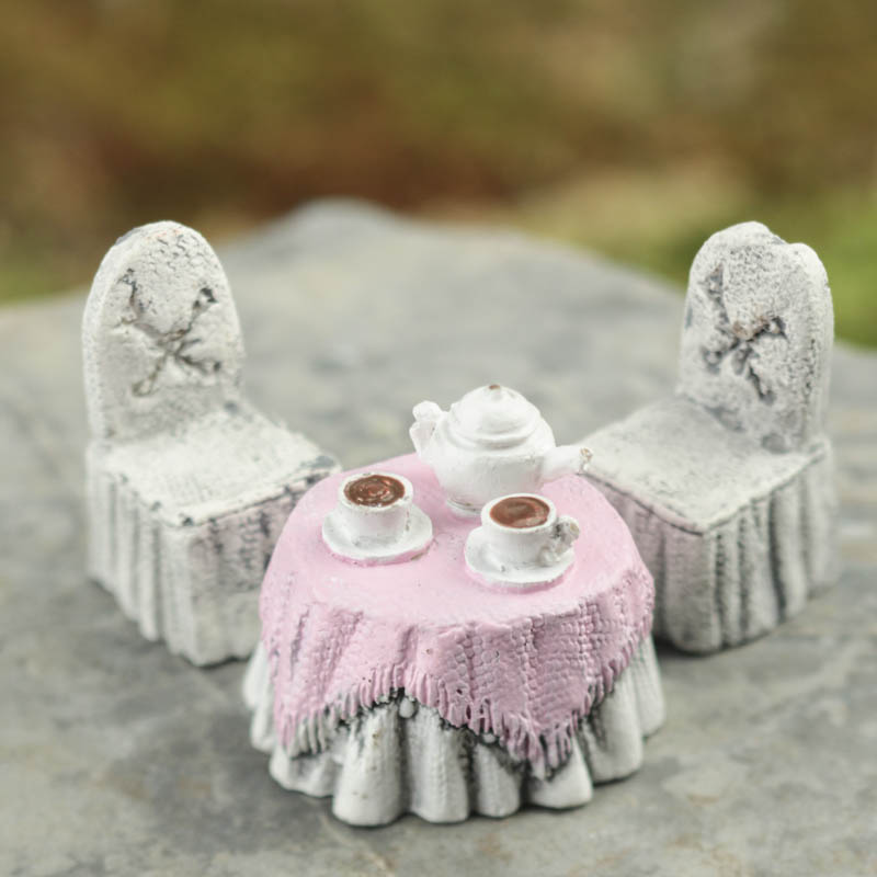 Click Here For A Larger View & Micro Mini Tea Set Table and Chairs - Miniature Furniture ...