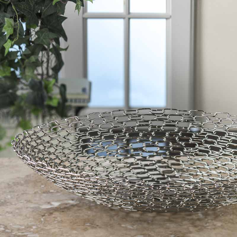 Large handmade metal chain link bowl decorative plates and stands home decor - Massieve decoratieve tuin ...