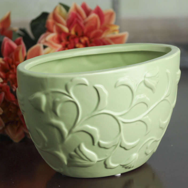 Green Ceramic Flower Pot Decorative Containers Kitchen