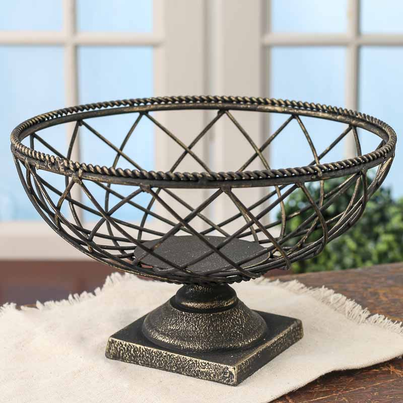 Black and gold mesh pedestal bowl decorative containers