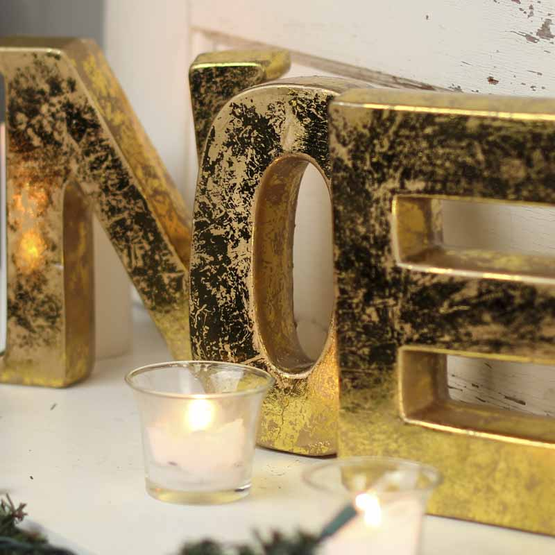 Gold Clay Block Quot Noel Quot Letters Table Decor Christmas
